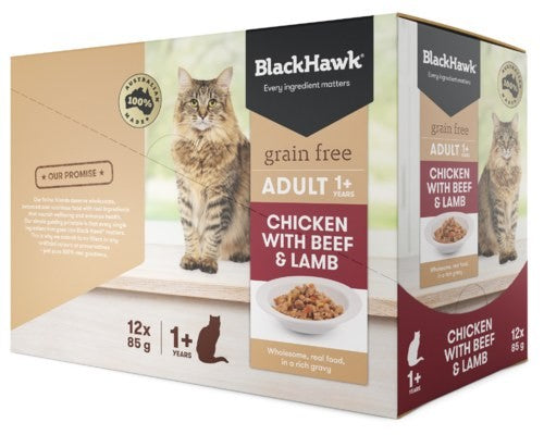 BLACK HAWK FELINE CHICKEN BEEF LAMB 85GX12