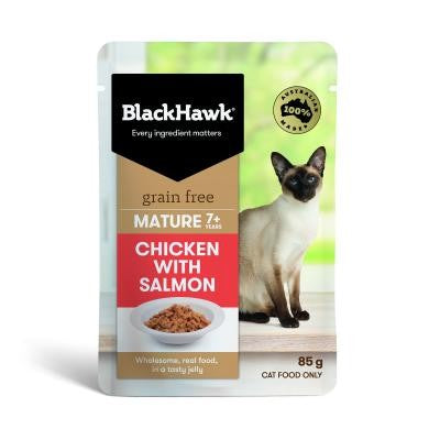 BLACK HAWK FELINE SENIOR SALMON 85GX12