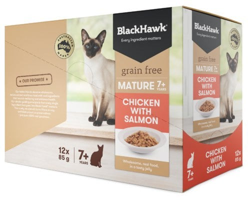 BLACK HAWK FELINE SENIOR 85G X 12 - CHICKEN SALMON 85GX12