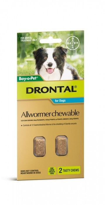 DRONTAL CHEWABLE ALLWORMER 10KG 2 PACK