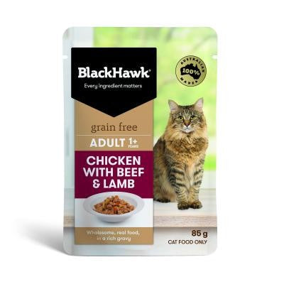BLACK HAWK FELINE CHICK/BEEF/LAMB 85G