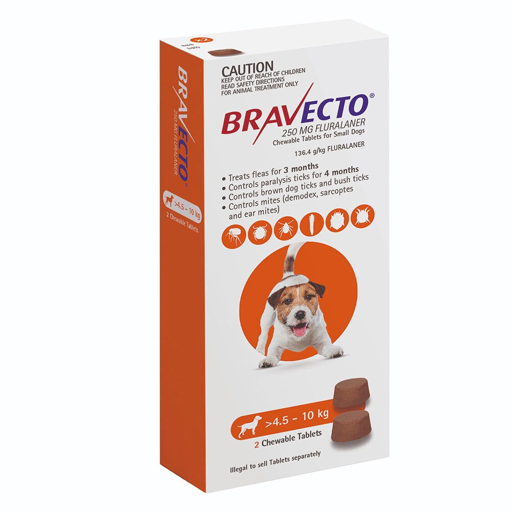 Bravecto Small Dog Orange 4.5-10kg 2pk