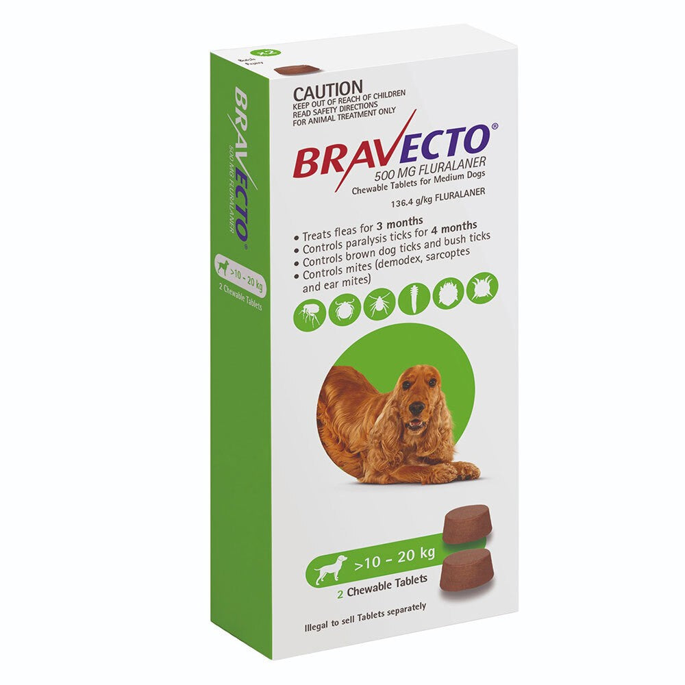Bravecto Medium Dog Green 10-20kg 2pk
