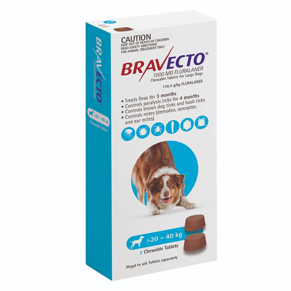 Bravecto Large Dog Blue 20-40kg 2pk