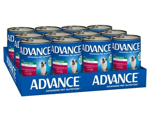 ADVANCE DOG CANS CASSEROLE LAMB 400GX12