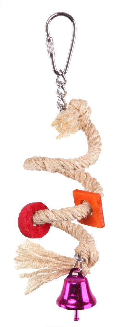 BIRD TOY W/ SISAL ROPE & BELL - SMALL