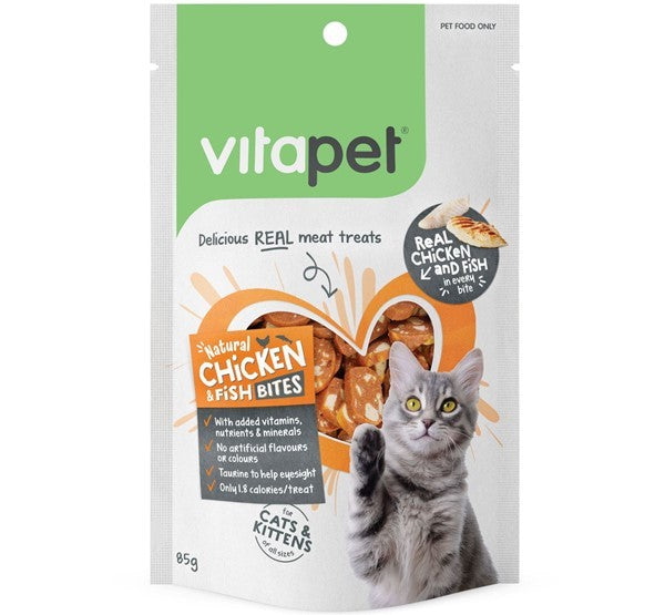 VITA PET CAT TREAT CHICK/FISH BITES 85G