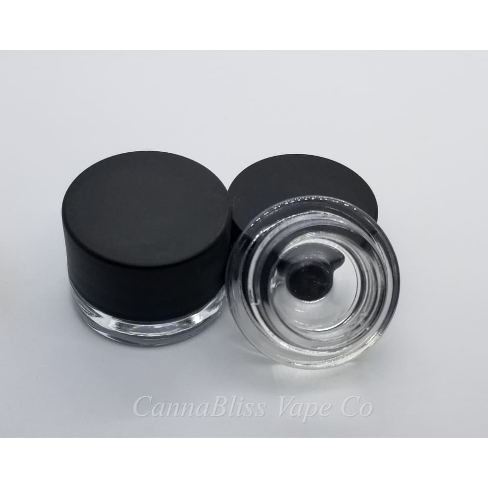 Glass Jar w/ Black Smooth Edge Lid, 5ml - CannaBliss Vape Co.