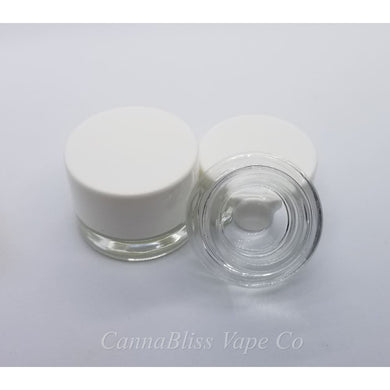 Glass Jar w/ White Smooth Edge Lid, 5ml - CannaBliss Vape Co.