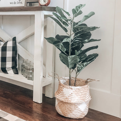 Faux Fiddle Fig Leaf Plant in Pot