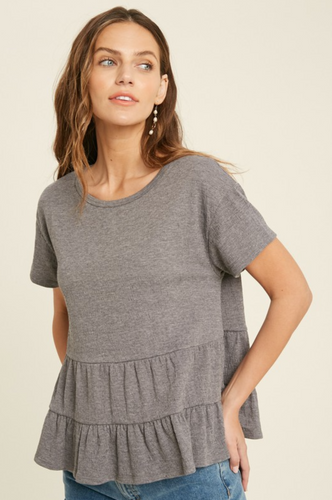 BABYDOLL TIERED KNIT TOP-CHARCOAL