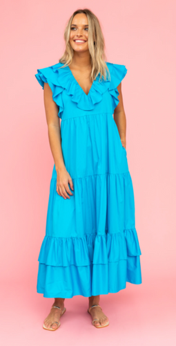 CROSBY WILLOW DRESS-BLUE LAGOON