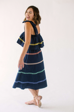 Load image into Gallery viewer, ENGLISH FACTORY COLOR TRIM MIDI DRESS-NAVY COMBO
