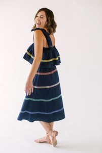 ENGLISH FACTORY COLOR TRIM MIDI DRESS-NAVY COMBO