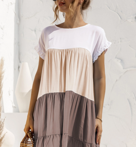 EPRETTY COLORBLOCK DRESS-TAUPE