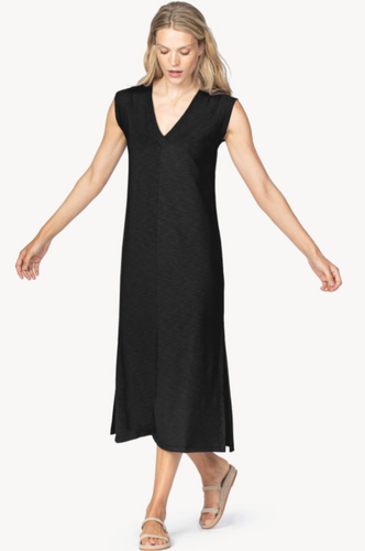 LILLA P V-NECK MIDI DRESS-BLACK
