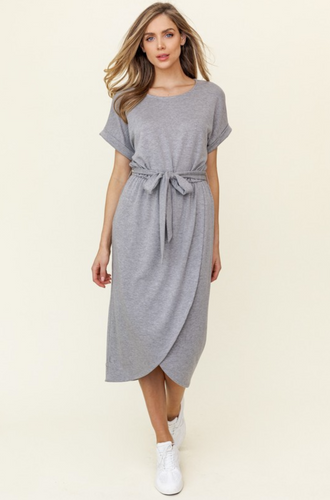 GILLI TIE MIDI DRESS-GREY