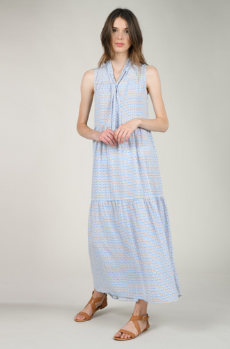 MOLLY BRACKEN WOVEN MAXI-BLUE PRINT