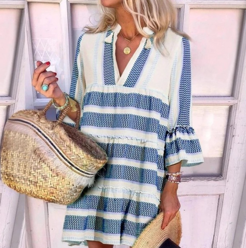 PINK RIPPLE PRINT TUNIC-WHITE/BLUE