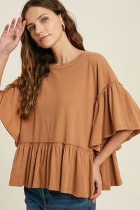 WISHLIST BELL SLEEVE TOP-CHAI