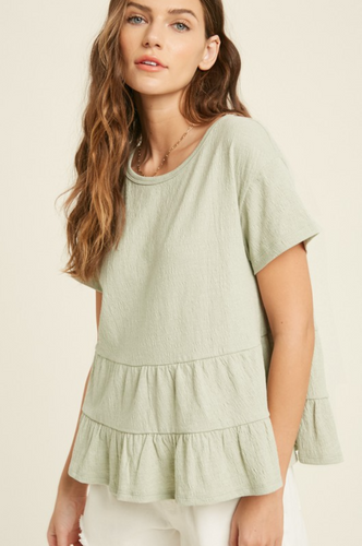 BABYDOLL TIERED KNIT TOP-SAGE