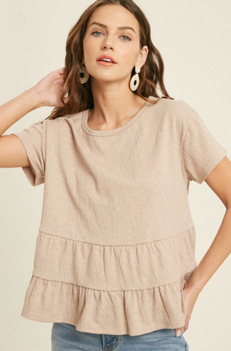 BABYDOLL TIERED KNIT TOP-MOCHA