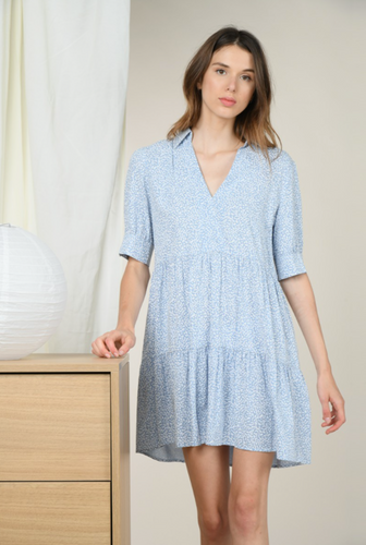 MOLLY BRACKEN COLLARED TIERED DRESS-BLUE