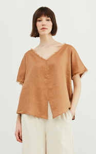 GRADE & GATHER FRONT SLIT LINEN BLOUSE-CANYON