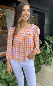 ADDY SQUARE NECK BLOUSE-PINK/ORANGE