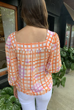 Load image into Gallery viewer, ADDY SQUARE NECK BLOUSE-PINK/ORANGE