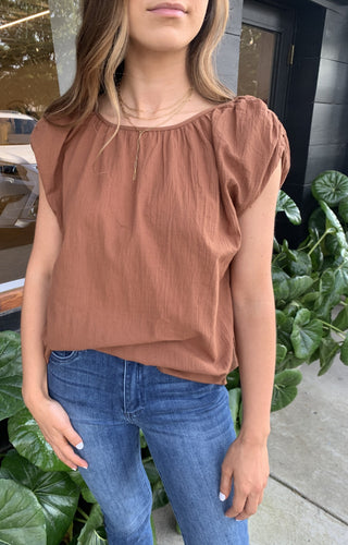 SHIRRED NECK COTTON BLOUSE-CINNAMON