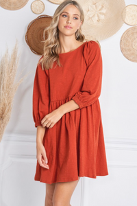 JOLIE PUFF SLEEVE DRESS -RUST