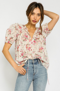 OLIVACEOUS FLORAL PUFF SLEEVE TOP