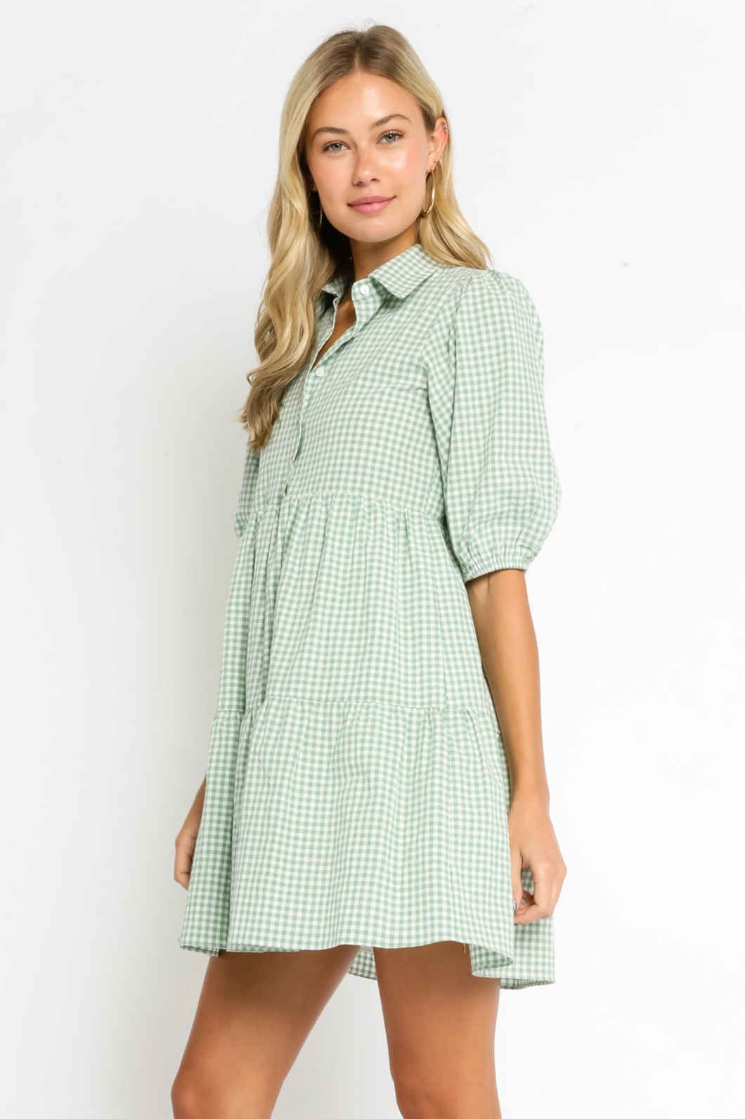 OLIVACEOUS GINGHAM DRESS -SAGE