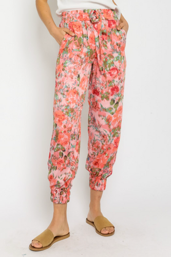OLIVACEOUS CORAL MOSAIC JOGGERS