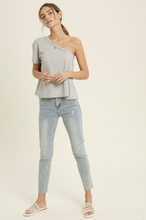 Load image into Gallery viewer, WISHLIST ONE SHOULDER TEE-GREY