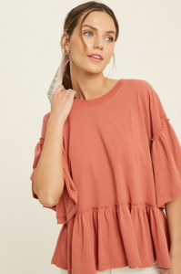 WISHLIST BELL SLEEVE TOP-BRICK