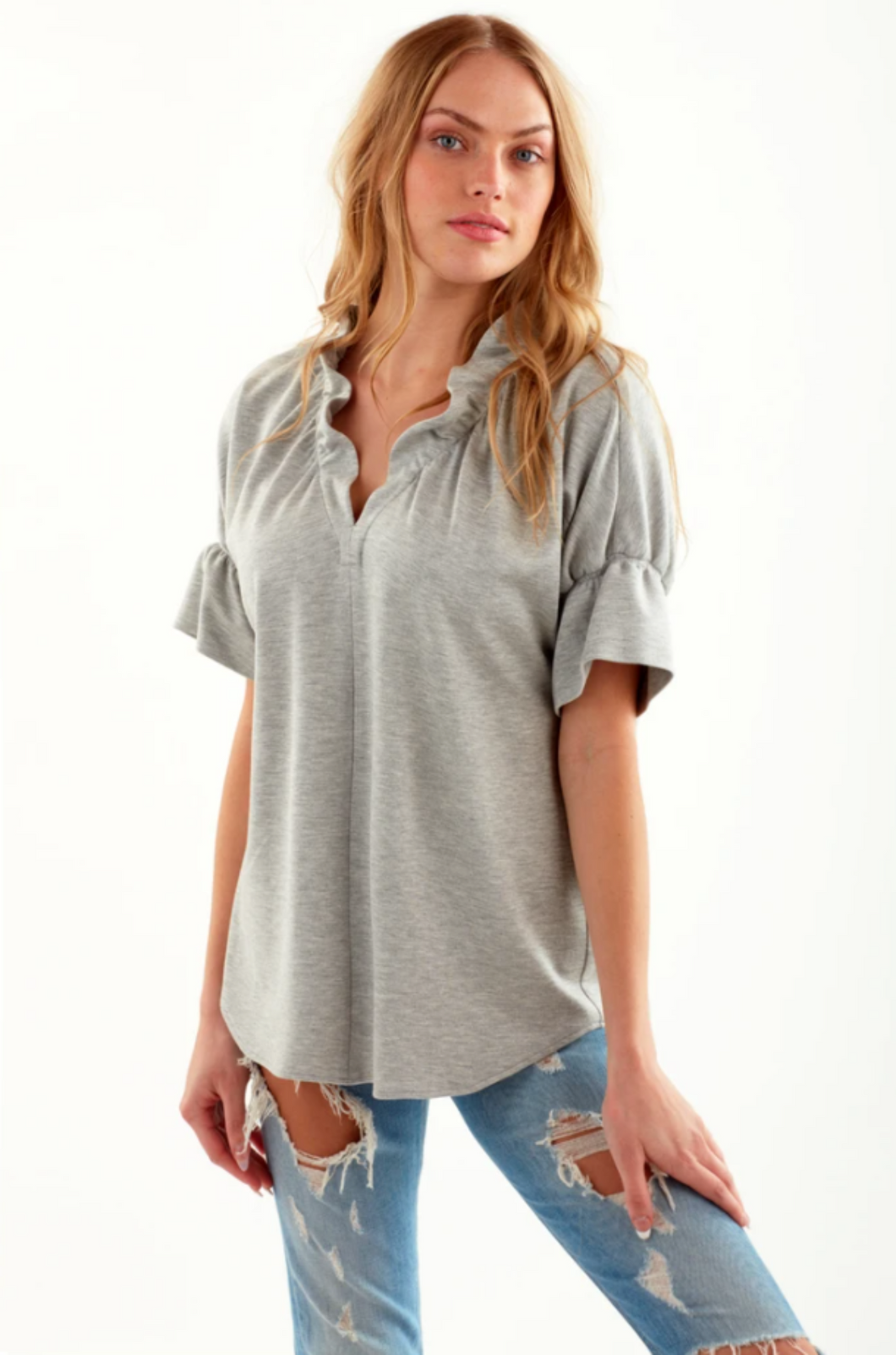 FINLEY KNIT CROSBY TOP-LIGHT GREY