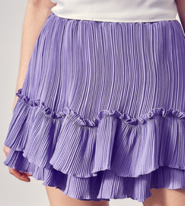 DO + BE PLEATED RUFFLE SKIRT-VIOLA