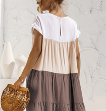 Load image into Gallery viewer, EPRETTY COLORBLOCK DRESS-TAUPE