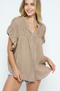 COZY CASUAL TOP-MOCHA