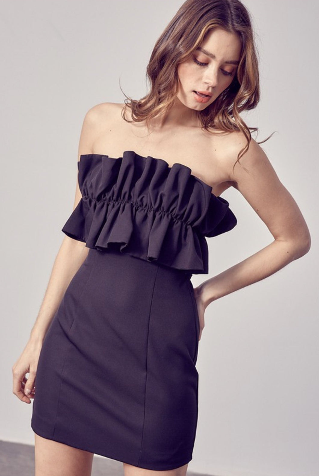 DO + BE RUFFLE DRESS-BLACK