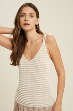 Load image into Gallery viewer, TIE SHOULDER KNIT TANK-CREAM