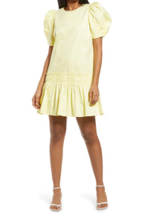 ENGLISH FACTORY RUFFLE DRESS-YELLOW