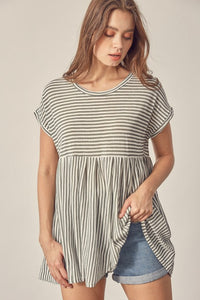 MUSTARD SEED STRIPED TOP-OLIVE