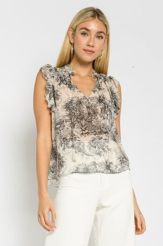 OLIVACEOUS PAINTED ISLANDS TOP