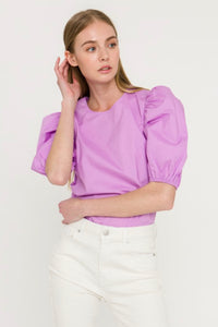 ENGLISH FACTORY LILAC POPLIN TOP