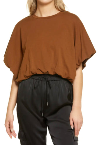 ENGLISH FACTORY CROPPED TEE-BROWN