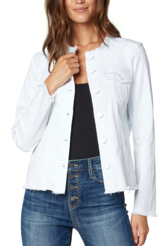 LIVERPOOL JEAN JACKET W/ FRAY-WHITE
