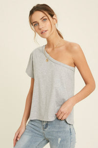 WISHLIST ONE SHOULDER TEE-GREY